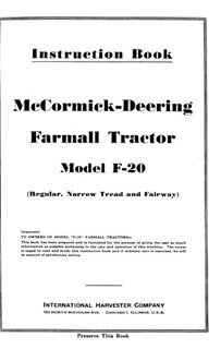 Picture of Instruction Book for McCormick-Deering Farmall Tractor Model F-20