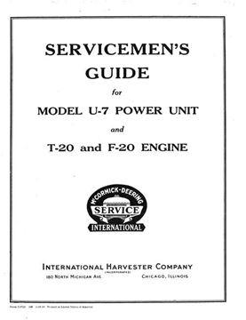 Picture of Serviceman's Guide for Model U-7 Power Unit and T-20 & F-20 Engines