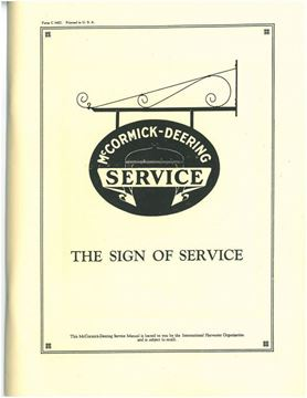 Picture of McCormick-Deering Sign of Service Manual for Early Tractors